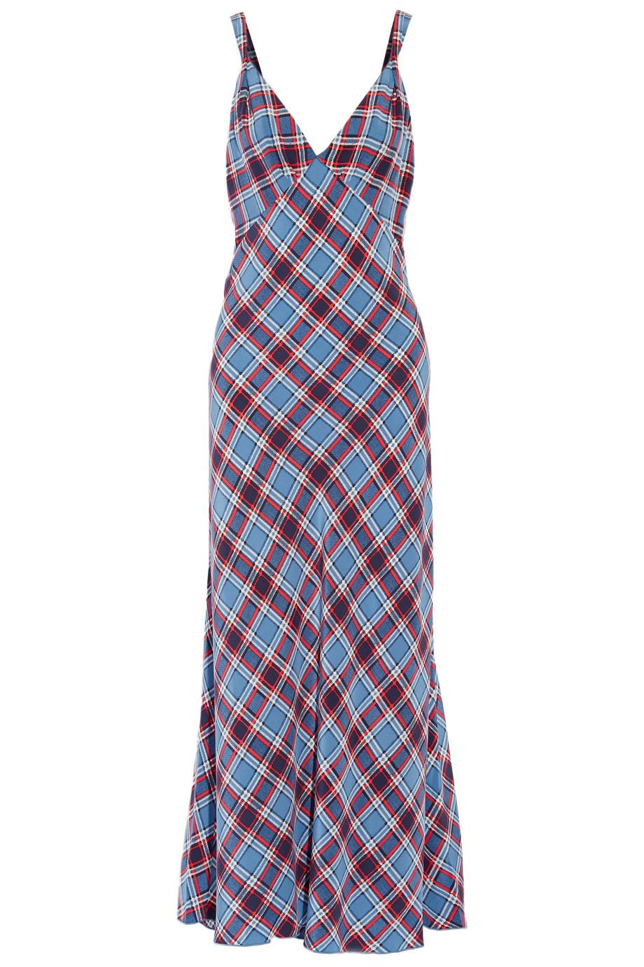 Marc Jacobs Plaid Silk Crepe De Chine Maxi Dress, Blue, Women's - Plaid, Size: 0