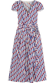 Printed stretch-cotton poplin wrap dress