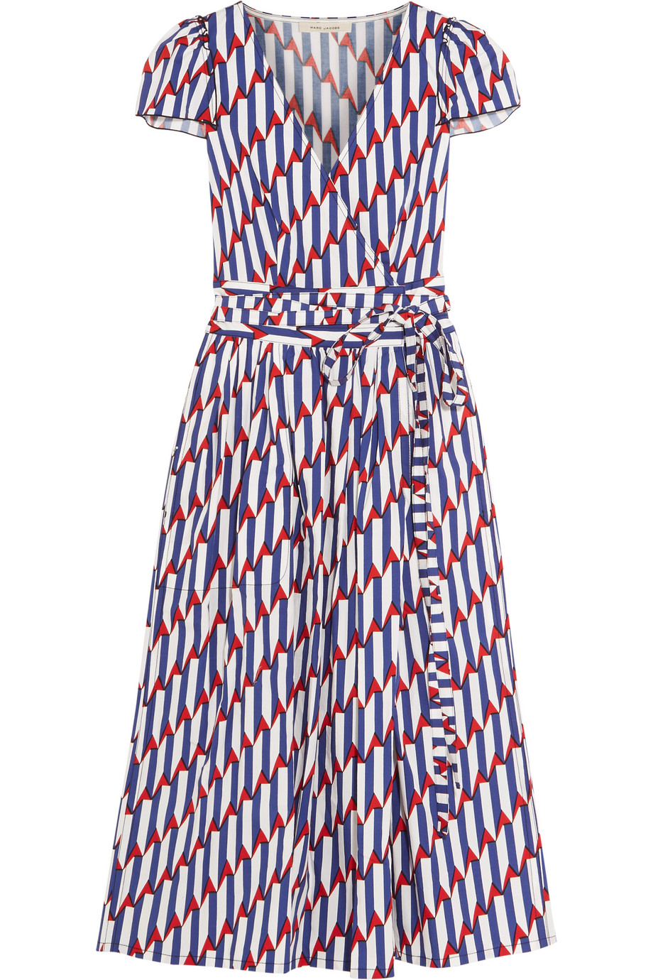Marc Jacobs Printed Stretch-Cotton Poplin Wrap Dress, Royal Blue/Red, Women's - Printed, Size: 4