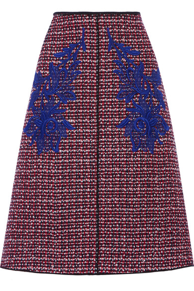 marc jacobs female 250960 marc jacobs floralappliqued wooltweed midi skirt red