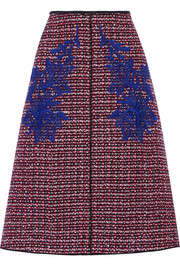 Floral-appliquéd wool-tweed midi skirt