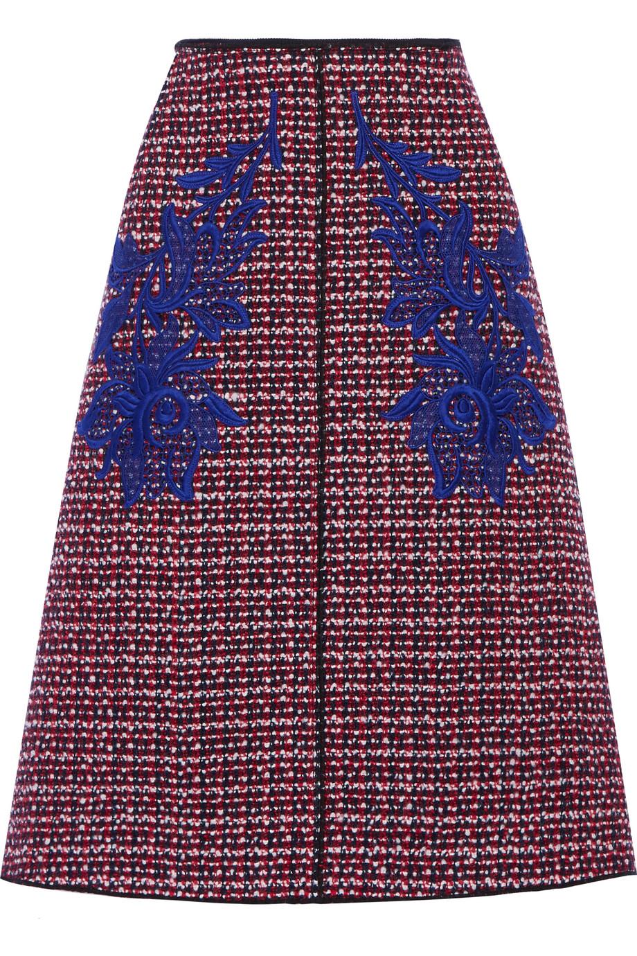 Marc Jacobs Floral-Appliquéd Wool-Tweed Midi Skirt, Red/Blue, Women's, Size: 2