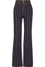 Striped cotton-twill wide-leg pants