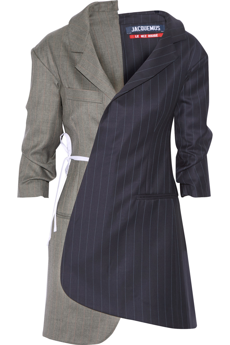 Pinstriped Wool-Twill Wrap Dress, Size: 34