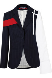Cotton-paneled pinstriped wool-twill blazer