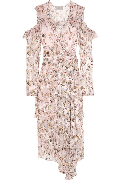 Preen by Thornton Bregazzi - Alberta Floral-print Devoré-chiffon Wrap Dress - Blush