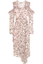 Alberta floral-print devoré-chiffon wrap dress