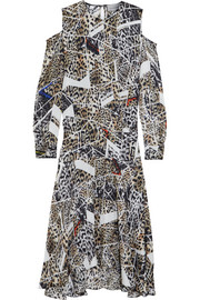 Octavia leopard-print silk-jacquard dress