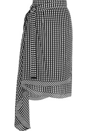 Lea gingham silk-jacquard wrap skirt