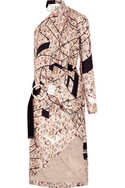Zaha one-shoulder printed silk-twill dress