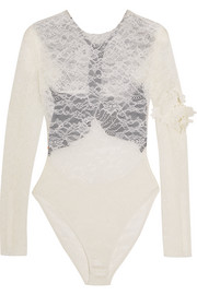 Varlese appliquéd lace and stretch-crepe bodysuit