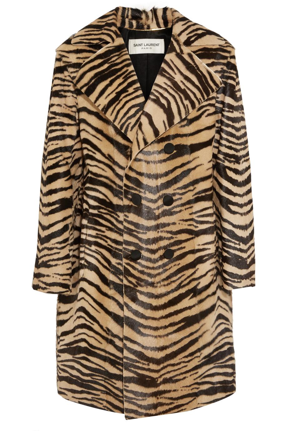 Saint Laurent Tiger-Print Goat Hair Coat, Leopard Print/Brown, Women's, Size: 34