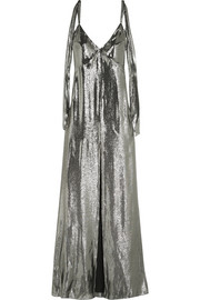 Saint Laurent Silk-blend lamé gown