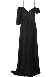 Asymmetric silk-satin gown