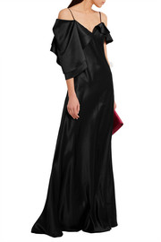 Saint Laurent Asymmetric silk-satin gown
