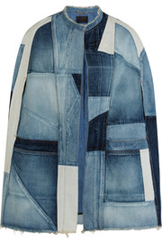 Patchwork denim cape