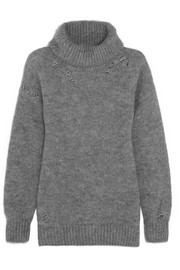 Distressed mohair-blend turtleneck sweater