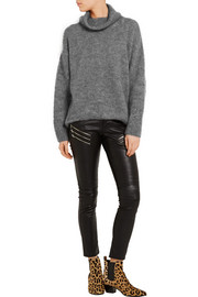 Saint Laurent Distressed mohair-blend turtleneck sweater