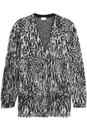 Oversized leopard-intarsia mohair-blend cardigan