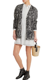 Saint Laurent Oversized leopard-intarsia mohair-blend cardigan