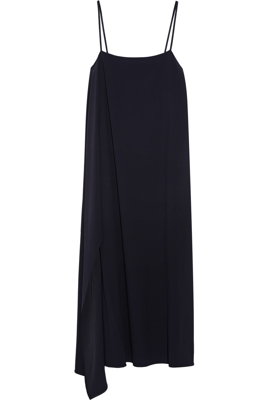 Helmut Lang Asymmetric Crepe Midi Slip Dress, Midnight Blue, Women's, Size: XS