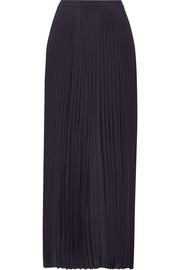 Asymmetric pleated crepe de chine maxi skirt