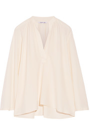 Oversized stretch-silk crepe top