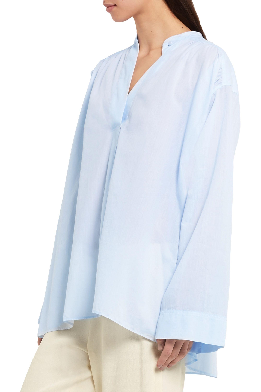 Helmut Lang Oversized ruched cotton-poplin shirt
