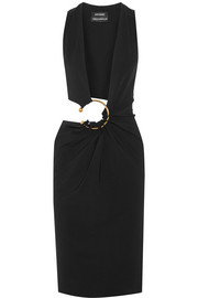Cutout stretch-wool dress