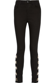 Embellished high-rise skinny jeans