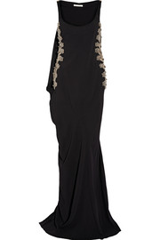 Cape-detailed embellished tulle-paneled stretch-cady gown
