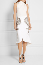 Antonio Berardi Embellished stretch-crepe skirt