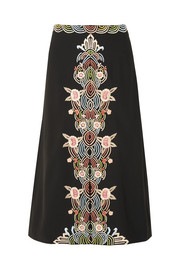 Jo embroidered crepe skirt