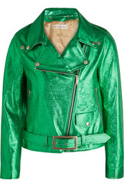 Chiodo metallic textured-leather biker jacket