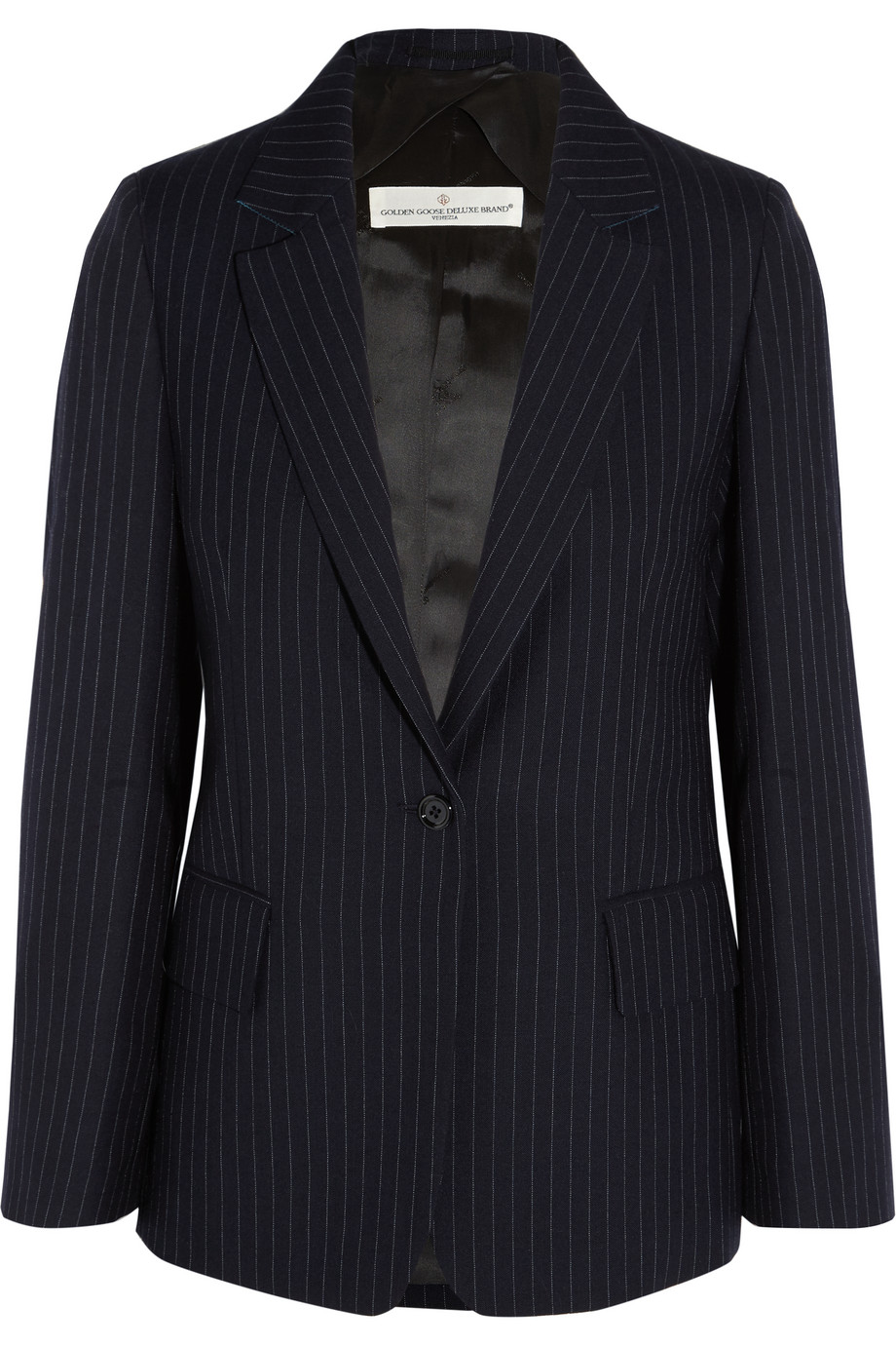 Pinstriped Wool and Mohair-Blend Blazer, Midnight Blue, Women's, Size: S