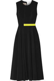 Sage color-block cady, crepe and neoprene midi dress