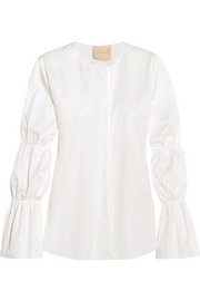 Rosella ruched cotton-poplin blouse