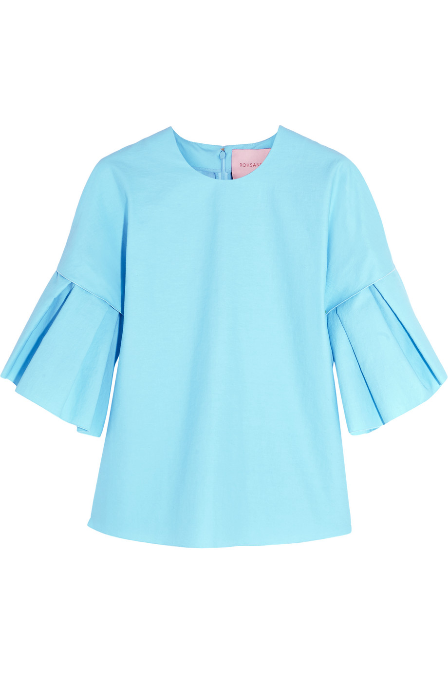 Roksanda Phoebe Crinkled Cotton-Blend Top, Sky Blue, Women's, Size: 10