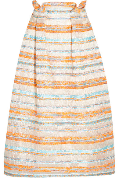Roksanda - Jenna Woven Metallic Raffia Midi Skirt - Pastel orange