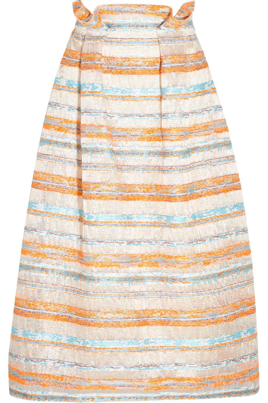 Roksanda Jenna Woven Metallic Raffia Midi Skirt, Pastel Orange, Women's, Size: 8