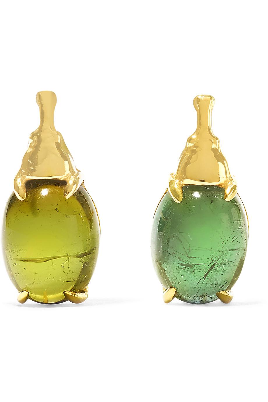 Nefertiti 18-Karat Gold Tourmaline Earrings, Daniela Villegas, Gold/Light Green, Women's