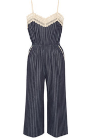 Crochet-trimmed pinstriped denim jumpsuit