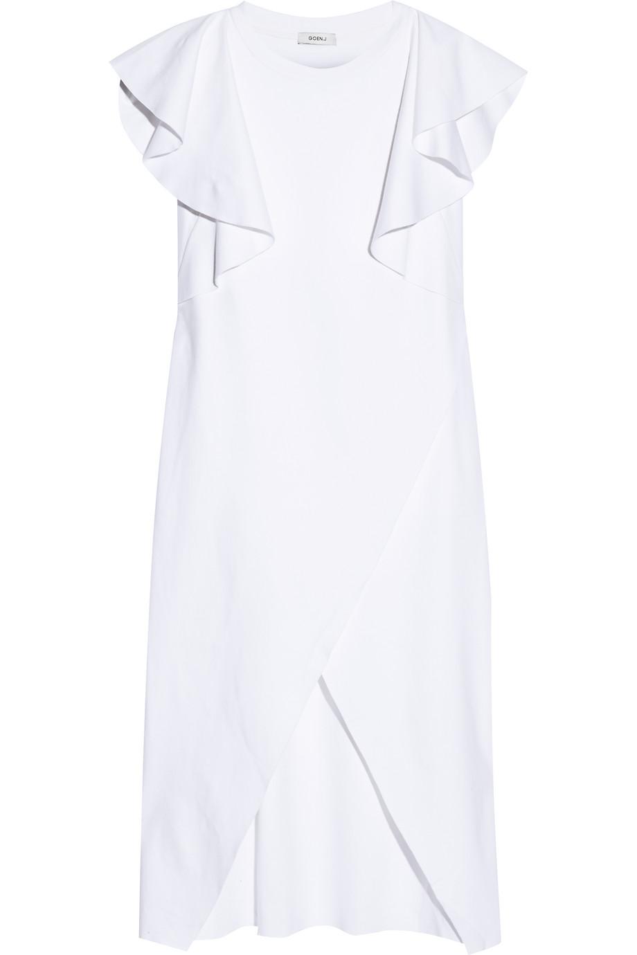 Ruffled Cotton-Jersey Midi Dress, White, Women's - Metallic, Size: S