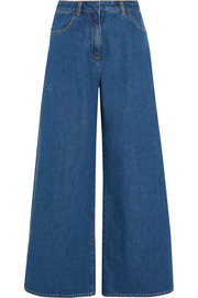 Split high-rise wide-leg jeans