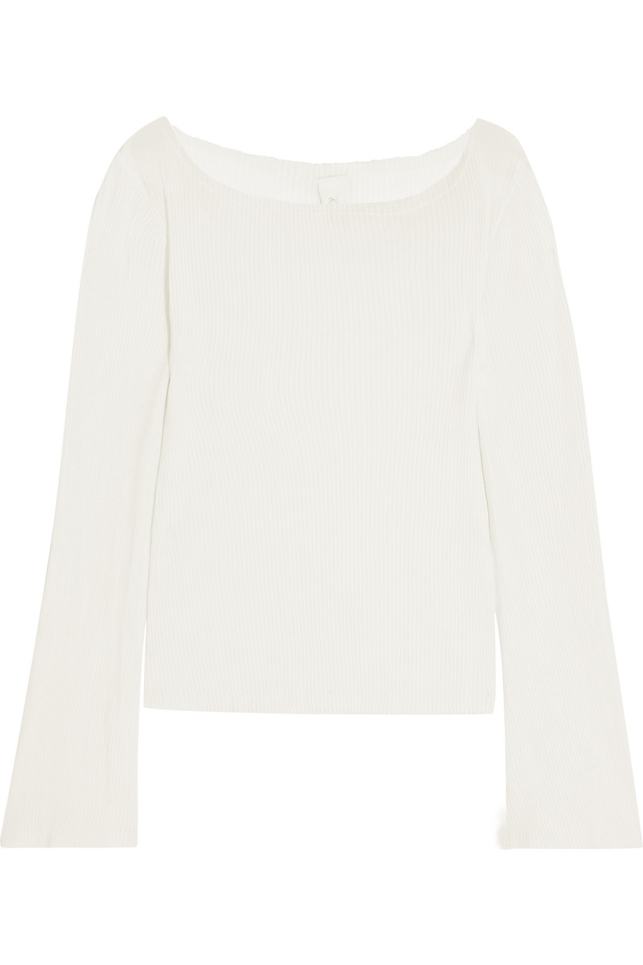 Off-the-Shoulder Plissé Cotton-Jersey Top, White, Women's, Size: 40