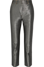 Cropped metallic high-rise slim-leg jeans