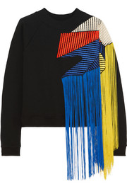 Fringed crochet-paneled cotton-jersey sweatshirt