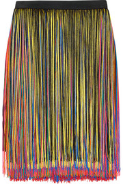 Fringed stretch-satin skirt