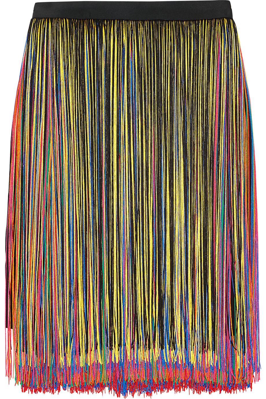 Fringed Stretch-Satin Skirt, Christopher Kane, Black/Yellow, Women's, Size: 14