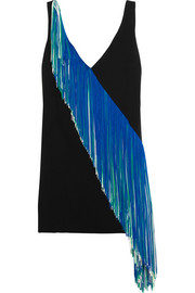 Asymmetric fringed stretch-crepe mini dress